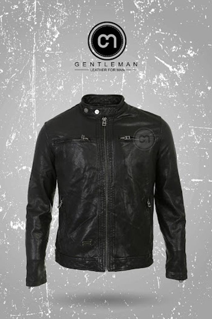 Áo da dê DIESEL màu đen được Gentleman nhập khẩu nguyên chiếc từ Ý