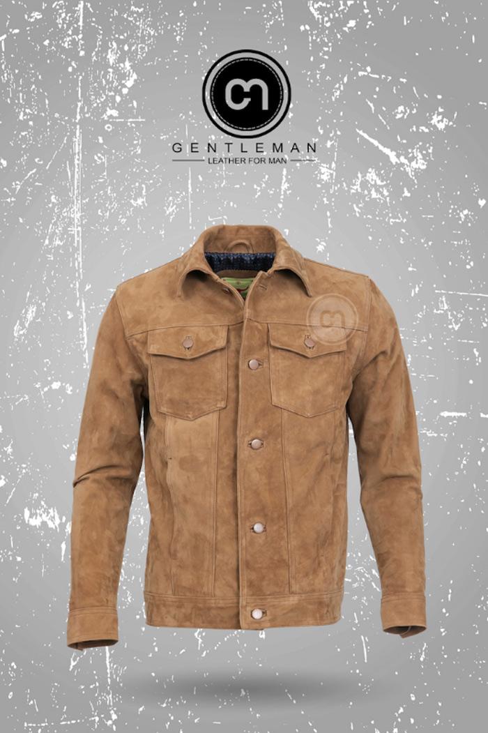 Áo da bò lộn cổ đức màu vàng nhạt ấm áp cân bằng cho trang phục vào mùa đông lạnh giá